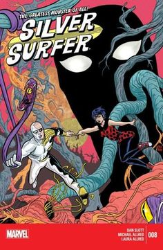 """Silver Surfer (2014-) #8 The Surfer finds himself drawn to the most """"unlikely planet"""" he's ever sensed in all his cosmic travels. A population of 666 billion sentient beings, made up of 666.667 billion races. What is the secret of this world where practically no two life forms are the same? And while Norrin Radd deals with this mystery, Dawn Greenwood comes face-to-face with """"The Greatest Monster in the Galaxy!"""""""