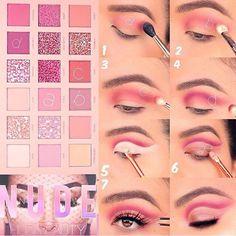 Huda Beauty Makeup Palette Eye Makeup Step by Step Tutorial - Amer . - Huda Beauty Makeup Palette Eye Makeup Step by Step Tutorial – American Make-up S – Beauty Home - Maquillaje Huda Beauty, Huda Beauty Makeup, Beauty Make-up, Eyeshadow Makeup, Makeup Brushes, Beauty Tips, Smokey Eyeshadow, Pink Eyeshadow, Makeup Dupes
