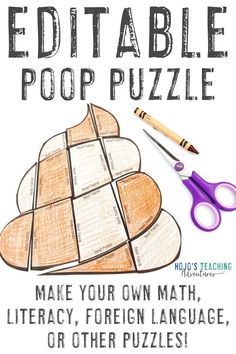 This FREE editable poop puzzle allows you to type anything you want into the PowerPoint file. Click to download it today, then use it with your 1st, 2nd, 3rd, 4th, 5th, 6th, 7th, or 8th grade elementary classroom or homeschool students. Use this with math, literacy, foreign languages, sight words, vocabulary, or anything else that fits into the text boxes. #MathGames #LiteracyGames #MiddleSchool #Elementary #HoJoTeaches 5th Grade Classroom, Middle School Classroom, Free Activities For Kids, Make Your Own Puzzle, Literacy Games, Halloween Math, Picture Writing Prompts, Shape Puzzles, Critical Thinking Skills
