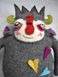 Stuffed Animal Monster Wool Sweater Recycled Repurposed Carnival of Color Oh my goodness, I love this monster! He reminds me of a visit to the