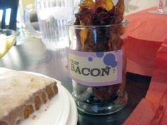 Check out how my brunch turned out with tips from Pinterest ... including bacon in a stand-up container! Cuteness!