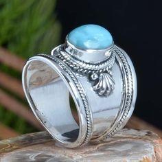 925 SOLID STERLING SILVER LARIMAR FANCY RING 8.72g DJR11384 SZ-7.5 #Handmade #Ring