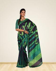 Designer Green with black Super #bhagalpurisilksaree