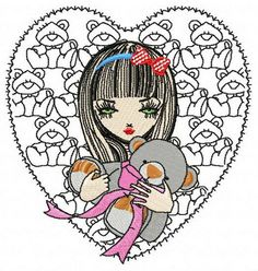 Girl with teddy bear 2 machine embroidery design. Machine embroidery design. www.embroideres.com