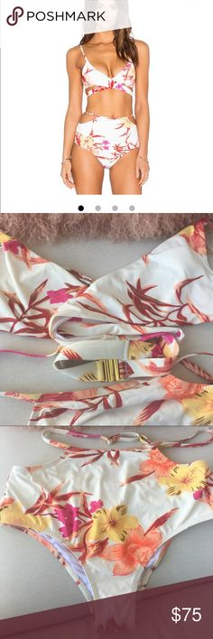 Some Days Lovin tropical print 👙 bikini Some days lovin tropical print bikini 👙 featured on several blog sites. Brand new never worn purchased from Revolve. Size M top Size S bottom. Top has a wrap feature and closes with brass clip at back. Bottom is high waisted with a thin strap feature that wraps at top and fastens in back. Very cute but my boobs are too big should've returned. Bottom is S size because it's high waisted and would be baggy if too big. Somedays Lovin Swim Bikinis