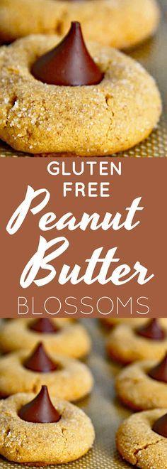 Gluten Free Peanut Butter Blossoms Recipe   gluten free cookies   gluten free peanut butter cookies   gluten free snacks   gluten free desserts   gluten free holiday treats    Now Find Gluten Free