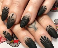 50 dramatic black acrylic nail designs to keep your style in point - Nails - Nageldesign Natur Black Acrylic Nails, Black Coffin Nails, Matte Black Nails, Black Nail Art, Stiletto Nails, Gel Nails, Black Ombre Nails, Nail Polish, Black Acrylics