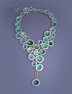 Necklace | Asagi Maeda 'Moments' Sterling silver, Enamel on fine silver, 18K gold, Bolder Opal, Sapphire, Aquamarine, plastic