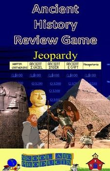 Ancient History Review Game: Jeopardy Format Review ancient history using a game.  It is fun and exciting for the entire class.  Starting a new year and want to refresh your students memories about what they previously learned in history?  Want to review for the end of the year test?