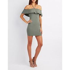 Green Halter Off-The-Shoulder Bodycon Dress - Size L