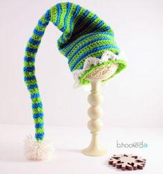 Crochet elf hat tutorial (with video) / Horgolt manósapka  horgolásmintával / Mindy
