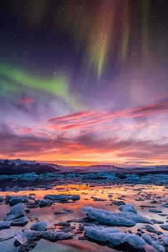 """ponderation: """"Aurora over Jokulsarlon, Iceland by BSchiedl """""""