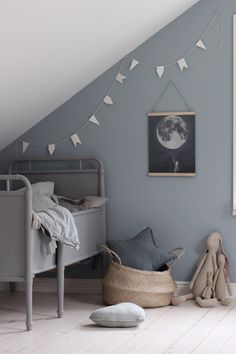 // THIS is a sheepish re-post for the super talented who was kind enough to send us this stunning bit of Scandi Kid's Room inspo + we shat on it with our bad cropping. Sorry Emily, we LOVE LOVE LOVE your work! And think you are so talented :) Team DS. Deco Kids, Grey Room, Grey Blue Nursery, Blue Grey, Nursery Inspiration, Little Girl Rooms, Kid Spaces, Girls Bedroom, Trendy Bedroom