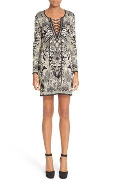 New ROBERTO CAVALLI Lace-Up Jacquard Dress fashion online. [$1910]?@shop hoodress<<