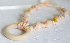 Teething Ring Necklace - Apricot Triangles - The Vintage Honey Shop #vhpingiveaway