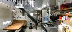仕事場併設の都市型住居工場や倉庫を改造したようなインダストリアル感溢れる空間