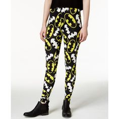 Bioworld Juniors' Batman Printed Leggings ($9.99) ❤ liked on Polyvore featuring pants, leggings, batman, black, patterned pants, patterned leggings, pull on pants, legging pants and print pants