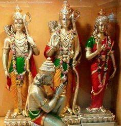 Shree Ram, Laxman, Sita and Hanuman Hanuman Pics, Ram Hanuman, Durga Puja Wallpaper, Lord Sri Rama, Hanuman Ji Wallpapers, Hindu Statues, Lord Shiva Family, Lord Krishna Images, Hindu Deities