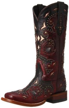 Lucchese Women's Oklahoma Calf Western Boot, Red and Grey, 10 M US * Want additional info? Click on the image.