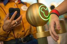 A Guest Uses the MyMagic+ MagicBand at Walt Disney World Resort.  Worn on the wrist, it will serve as a guest's room key, theme park ticket, access to FastPass+ selections, PhotoPass card and optional payment account all rolled into one.