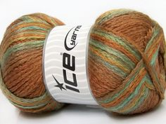 Lot of 4 x 100gr Skeins ICE ALABAMA Knitting Wool Camel Mint Green Yellow