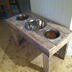 DIY: Dog Food Bowl Stand. Made out of pallets! Brian's very own design. #DogBowls #Healthysmalldogfood