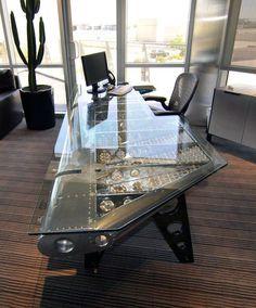 Motoart - Aviation Furniture - Pretty Cool Office Desk for Dad. Coaster Furniture, Man Cave Furniture, Furniture Making, Cool Furniture, Furniture Ideas, Office Furniture, Man Cave Desk, Man Cave Office, Cardboard Furniture