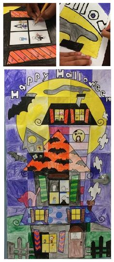 Mosaic Halloween poster for your classroom door. Everyone in class pitches in!