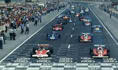 1976 French Grand Prix Start by F1-N°. 1: Niki Lauda (AUT) (Scuderia Ferrari), Ferrari 312T2 - Ferrari flat-12 (RET) N°. 11: James Hunt (GBR) (Marlboro Team McLaren), McLaren M23 - Ford V8 (finished 1st)  N°. 2: Clay Regazzoni (SUI) (Scuderia Ferrari), Ferrari 312T2 - Ferrari Flat-12 (RET) N°. 4: Patrick Depailler (FRA) (Elf Team Tyrell), Tyrrell P34 - Ford V8 (finished 2nd)