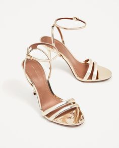 Image 3 of GOLDEN STRAPPY HIGH HEEL SANDALS from Zara