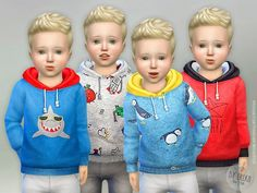 The Sims Resource: Hoodie for Toddler Boys P03 by lillka • Sims 4 Downloads