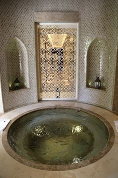 A hammam in Marrakech. Part of the photos for examples of functional uses of art in Title of art (if applicable): A hammam in Marrakech Website & URL where art was found Date of creation: na Date accessed: 2017 Reflection: Morrocan Decor, Moroccan Bathroom, Bathroom Spa, Spa Tub, Bathroom Ideas, Bathtub Ideas, Salon Interior Design, Bathroom Interior Design, Spa Design