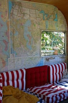 cool map wall decoration idea for a van conversion