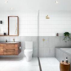 THE FULL LAYOUT :) If you're shorter on space, the shower could easily go over the bath ;) #renoideas @chamberlainarchitects @rogerseller @merri.green. Team DS. X #bathroom #bathroomdesign #bathroominspiration #bathroominspo #australiandesign #australianinteriors #australianinteriordesign #melbourne #chamberlainarchitects #rogerseller #brasstap #brasstapware #walnutwood #bath #shower #verticaltiles