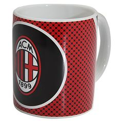 AC Milan Official Bullseye Ceramic Football Crest Mug 11oz RedWhiteBlack -- Learn more by visiting the image link. (This is an affiliate link)