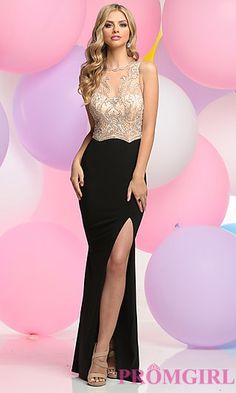 Beaded Illusion Bodice Floor Length Prom Dress at PromGirl.com