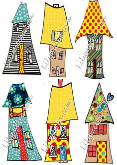 whimsical houses 2 clipart scrapbook/journal by lilymelba1 on Etsy