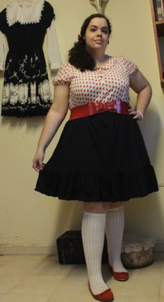 Casual Lolita outfit appropiately themed for class