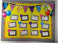 Birthday bulletin board I like using colored background and black and white displays