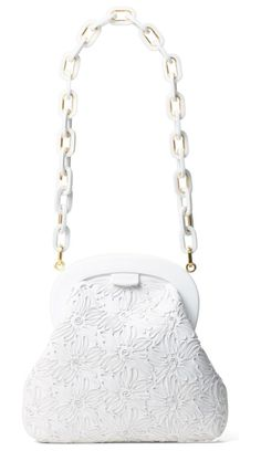 crawford calfskin leather shoulder bag by Michael Kors. Goldtone hardware highlights the chain strap of a stunning frame shoulder bag patterned with ornate floral stitching.