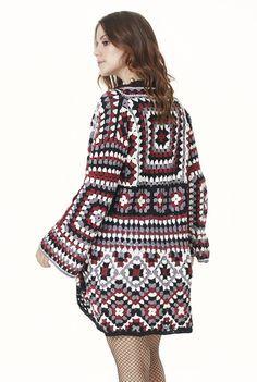 Sexy Crochet Cardigan Coat Cotton Granny Squares Bell Sleeves Festival Hippie Boho Gypsy Carnaby Bohemian Vintage Birthday Gifts for Her Crochet Bodycon Dresses, Black Crochet Dress, Crochet Coat, Crochet Cardigan Pattern, Crochet Jacket, Crochet Granny, Crochet Clothes, Stylish Coat, Coat Patterns