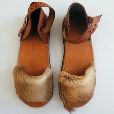 Bushman Spingbok Fur Leather Sandals by kalaharicraft on Etsy