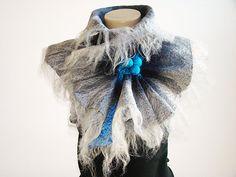 Felted Wool Scarf Neckpiece Collar Shibori Grey & by NataliyaMalik