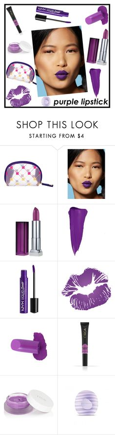 """""""Beauty Trend We Love: Purple Lipstick"""" by tlb0318 ❤ liked on Polyvore featuring beauty, Cruciani, Maybelline, Charlotte Russe, New York & Company, rms beauty and Eos"""