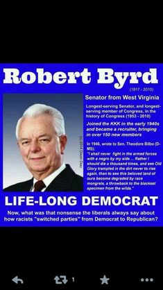 """Blaming a """"party switch"""" will NOT change the historical facts! NOTE  Democrat Senator Robert Byrd was an very important member of the KKK so was Al Gore's father till the day they died."""