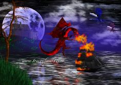 Dragon Attack - dragon attacking boat under a full moon by Tracey Everington of Tracey Lee Art Designs. Available on 51 products Castle On The Hill, 3d Studio, My Heart Is Breaking, Full Moon, Art Blog, Art Designs, Underwater, Fine Art America, The Help