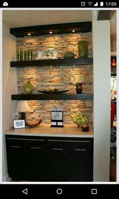 **turn nook in basement into trendy basement bar? add mini fridge into cabinetry and you're golden** Typically I don't like the open shelving look in a kitchen, but I really like this with the stone backlay and the under-shelf lighting. House Design, Sweet Home, Family Room, Wet Bar, Home Remodeling, New Homes, Bars For Home, Shelving Design, Under Shelf Lighting