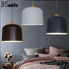 Dia 28cm Nordic Modern pendant lights Brown/White/gray Wood and aluminum Connected retro industrial style creative led lampshade