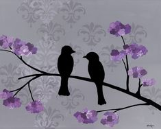 Love birds print, damask purple gray, 10 x 8 inches