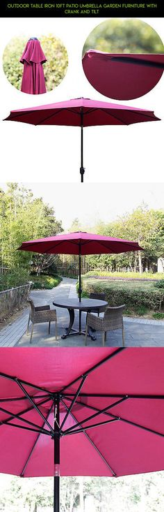 Outdoor Table Iron 10Ft Patio Umbrella Garden Furniture with Crank and Tilt #patio #technology #furniture #shopping #tech #racing #parts #gadgets #kit #plans #camera #umbrella #products #drone #fpv